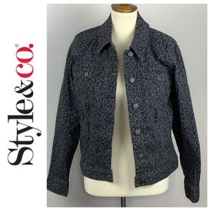 Style & Co Grey Leopard Print Jean Jacket Medium